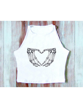 Skeleton Heart Hands Crop Top Halloween Crop Top  Skeleton Crop Top Yoga Top by Etsy