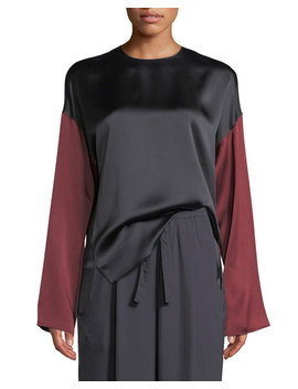 Colorblock Silk Long Sleeve Blouse by Vince