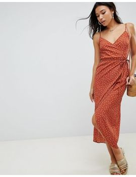 Asos Design Cami Wrap Maxi Dress In Polka Dot by Asos Design