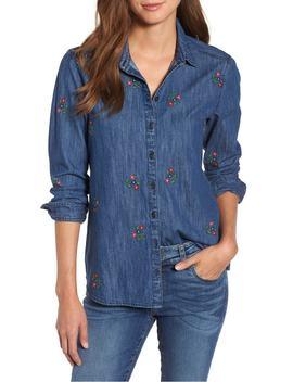 Floral Embroidery Cotton Denim Shirt by Caslon®