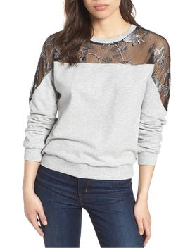 Embroidered Swiss Dot Panel Sweatshirt by Vince Camuto