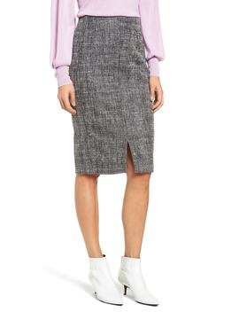 Tweed Slit Front Pencil Skirt by Halogen®