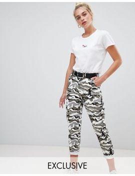 Daisy Street Combat Pants With Pockets In Camo by Daisy Street
