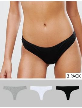 New Look 3 Pack Cotton Thongs by New Look