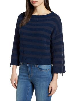 Zip Sleeve Stripe Sweater by Kenneth Cole New York