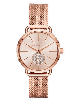 Women's Portia Rose Gold Tone Stainless Steel Mesh Bracelet Watch 37mm by Michael Kors