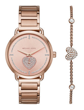 Women's Portia Rose Gold Stainless Steel Bracelet Watch 37mm Gift Set by Michael Kors