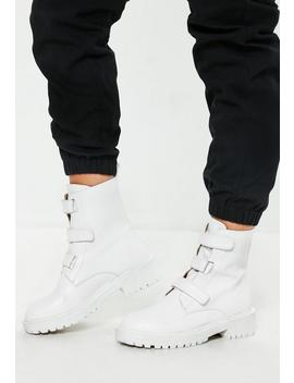 White Triple Strap Cleated Sole Boots by Missguided