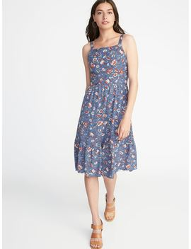 Floral Apron Front Fit & Flare Dress For Women by Old Navy
