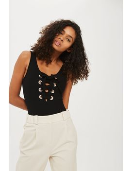 Large Eyelet Bodysuit by Topshop