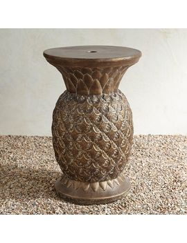 Stone Pineapple Umbrella Table by Pier1 Imports