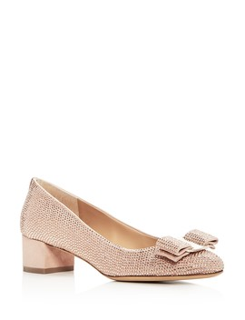 Women's Vara Crystal Embellished Suede Pumps by Salvatore Ferragamo