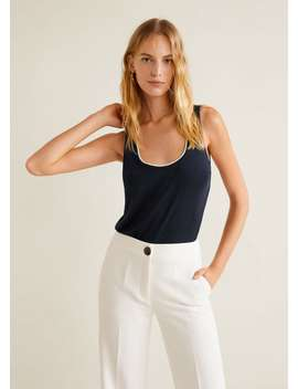 Contrast Neck Top by Mango