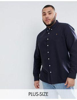 Farah Plus Brewer Slim Fit Oxford Shirt In Navy by Farah