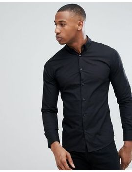 only-&-sons-slim-fit-stretch-poplin-shirt-in-black by only-&-sons