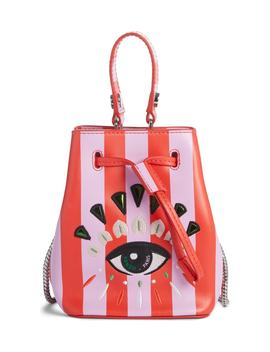 Mini Embroidered Eye Leather Bucket Bag by Kenzo