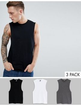 Asos Design Relaxed Vest With Dropped Armhole 3 Pack Save by Asos Design