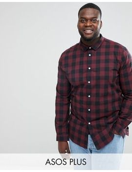 Asos Design Plus Stretch Buffalo Check Shirt by Asos