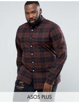 Asos Design Plus Stretch Slim Check Shirt In Rust by Asos