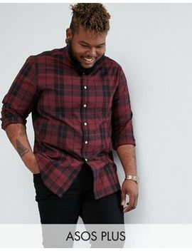 Asos Design Plus Stretch Slim Poplin Check Shirt In Burgundy by Asos