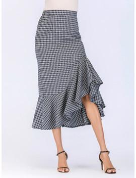 Fishtail Plaid Skirt by Sheinside