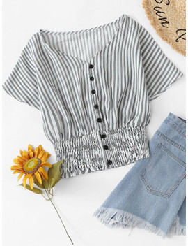 Single Breasted Striped Top by Sheinside
