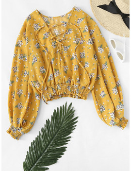 Floral Print Lantern Sleeve Lace Up Top by Sheinside