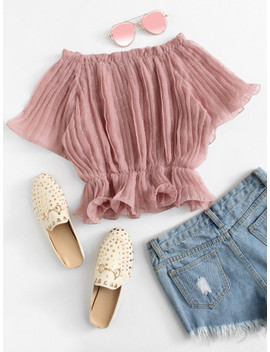 Off Shoulder Pleated Top by Sheinside
