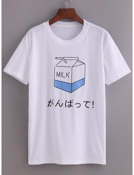 Comic Milk Box Print T Shirt by Sheinside
