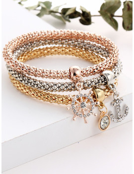 Anchor And Rhinestone Charm Bracelet Set by Sheinside