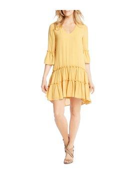 Silky Crepe Tiered Ruffle Hem Shift Dress by Generic