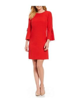 Katya Tie Bell Sleeve Dress by Generic