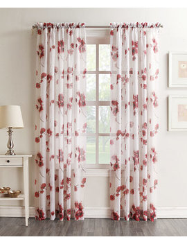 "Bimini Textured Floral Sheer Voile Curtain 51"" X 84"" Panel by Lichtenberg"