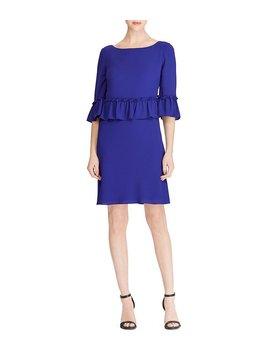 Ruffle Sleeve Crepe Dress by Generic