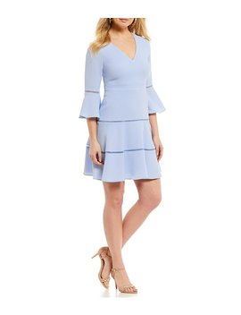 V Neck Bell Sleeve Fit And Flare Dress by Generic