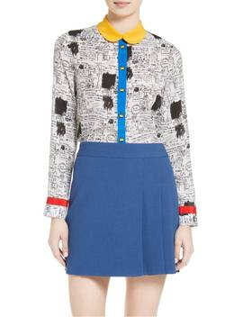 Gary Print Silk Blouse by Alice + Olivia