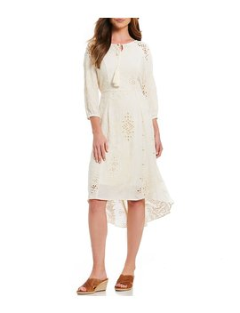 Embroidered Eyelet Hi Low Dress by Generic