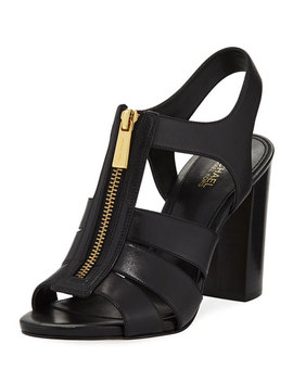 Damita Front Zip Leather Block Heel Sandal by Michael Michael Kors