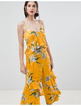 River Island Floral Print Ruffle Jumpsuit by River Island