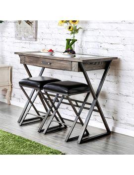Furniture Of America Garrin Industrial Rustic Wine Storage Bar Table by Furniture Of America