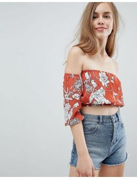Pull&Bear Leaf Print Detail Off The Shoulder Top In Rust by Pull&Bear