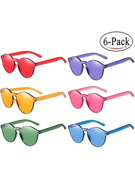 One Piece Round Rimless Sunglasses Transparent Candy Color Eyewear by Rtbofy