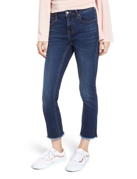 Fray Hem Crop Straight Leg Jeans by Vigoss