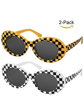 [One Price For Two] Elimoons Clout Goggles Bold Retro Oval Mod Thick Frame Sunglasses Round Lens 2 Pack by Elimoons