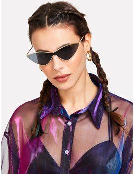 Metal Extreme Cat Eye Sunglasses by Romwe