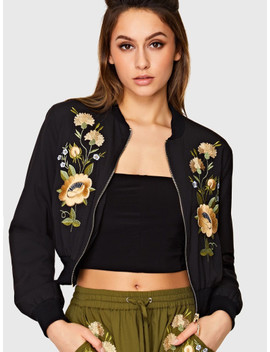 Floral Embroidered Bomber Jacket by Shein