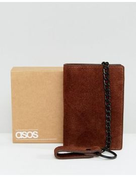 Asos Suede Wallet In Brown With Chain by Asos