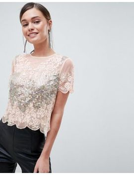 Asos Design T Shirt With All Over Sequins & Pretty Lace Detail In Pink by Asos Design