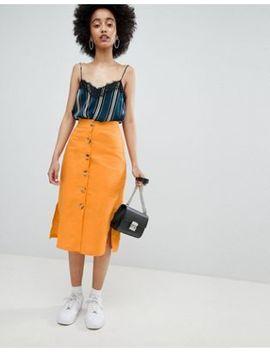 Bershka Button Front Linen Skirt Plain In Orange by Bershka
