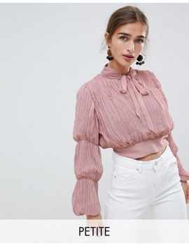 River Island Petite Plisse Crop Top With Puff Sleeves by River Island Petite